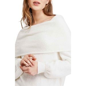 NWT Free People Echo Beach Ivory Cowl Neck Sweater